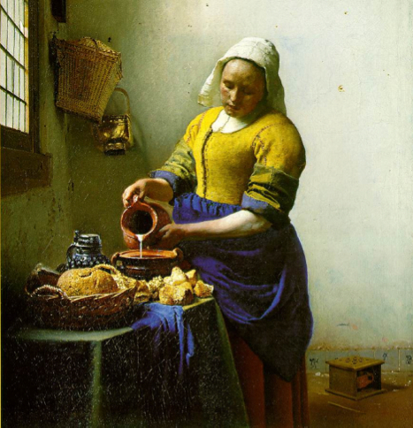 "Before 3rd Graders start their own art project, students discuss the features of this painting, ""Milk Maid,"" by Johannes Vermeer (1632-1675)."