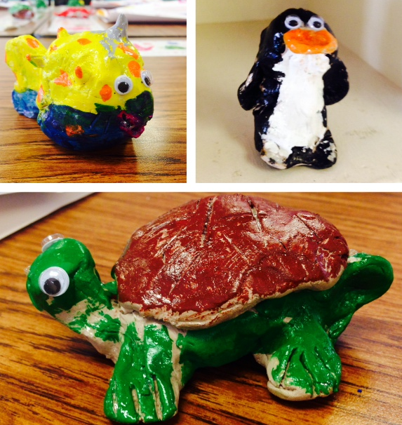 1st Grade students sculpted sea creatures using clay, resulting in delightful characters.