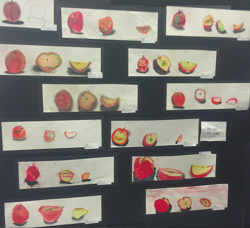 An apple a day: 5th Graders use drawing pencils, oil pastels, and real apples--to create artwork, inspired by Winslow Homer.