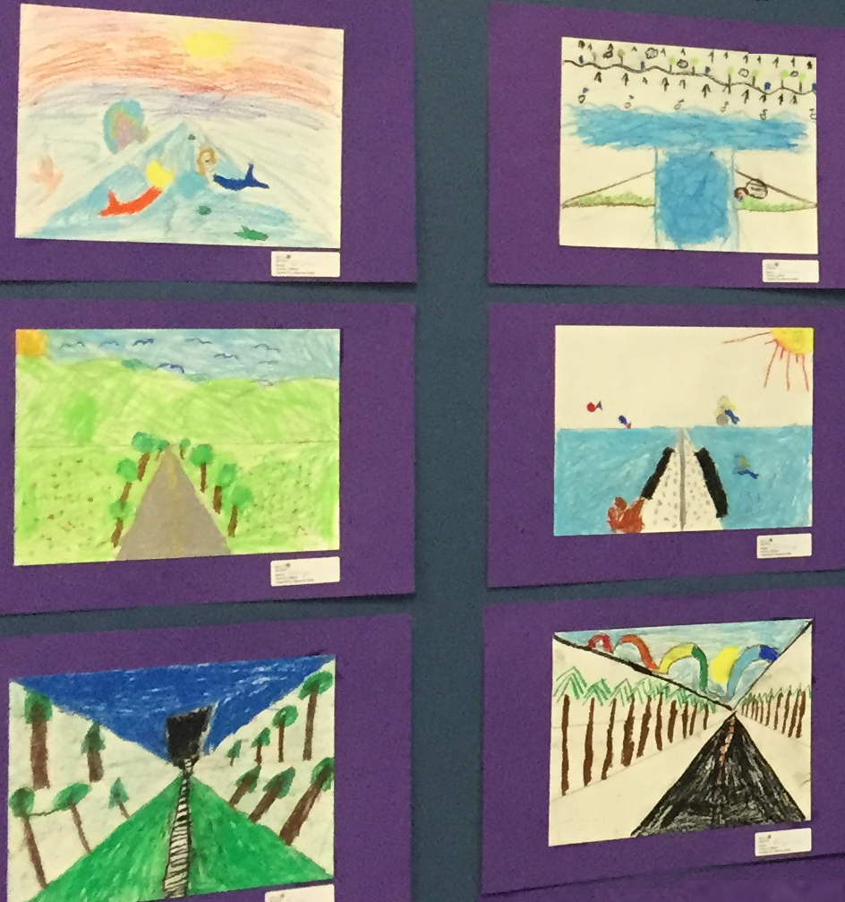 Inspired by Maurice Utrillo, 2nd Graders create a landscape using oil pastels.