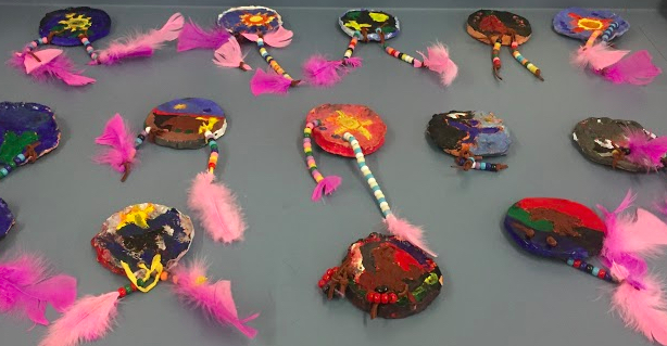 3rd Graders create their own clay shields, and decorate them with beads and feathers, inspired by Native American Art.
